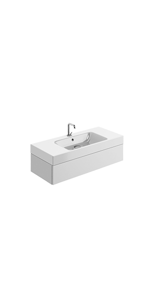 3550_9154 - washbasin 100x45 whit Wall mounted cabinet w/1 drawer