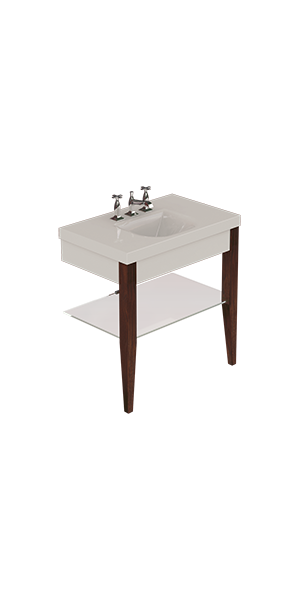 3930_916947_9186 - Washbasin with set of 2 darkened ash legs and Glass shelf