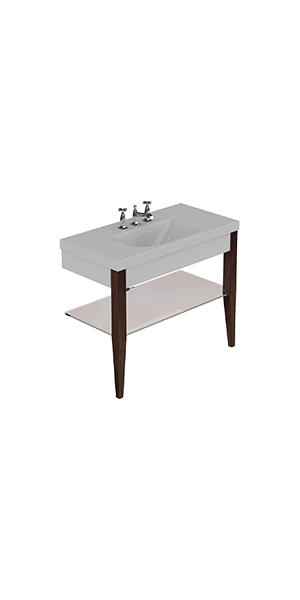 3931_916947_9187 - Washbasin with set of 2 darkened ash legs and Glass shelf