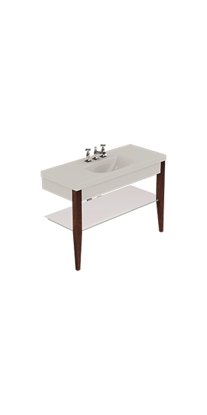 3932_916947_9188 - Washbasin with set of 2 darkened ash legs and Glass shelf