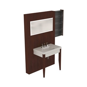 Washbasin with set of 2 hemlock legs Darkened ash unit w/hideaway shelves