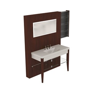 Washbasin with set of 2 hemlock legs Darkened ash unit w/hideaway shelves glass shelf