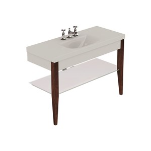 Washbasin with set of 2 darkened ash legs and Glass shelf