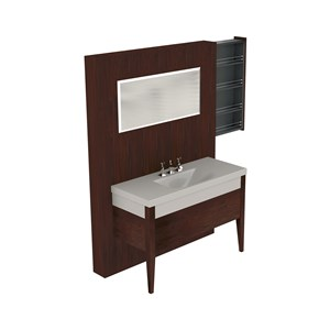 Washbasin with set of 2  Darkened ash legs unit w/hideaway shelves