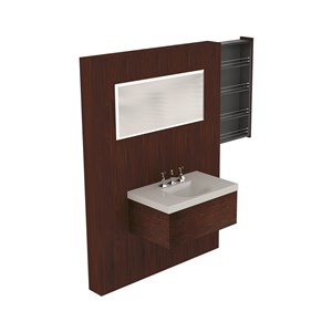 Washbasin with Darkened ash draw unit w/hideaway shelves