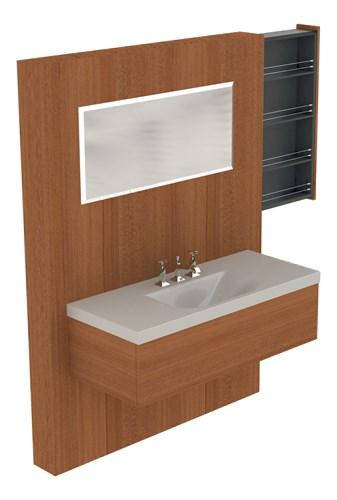 lavabo con mobile pannello con estraibile in hemlock
