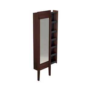 Floor standing mirror with darkened ash  w/hideaway shelves