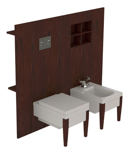 Darkened unit for wc pan and bidet